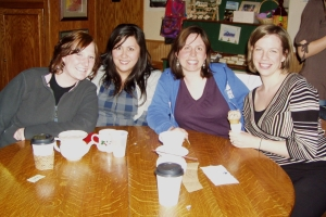four of the early writing group members ... all four are still in it!
