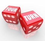 Your Turn Words Two Red Dice Game Competition Next Move